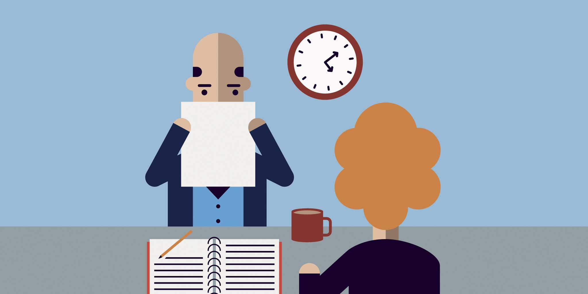 Cartoon van een man en vrouw op kantoor
