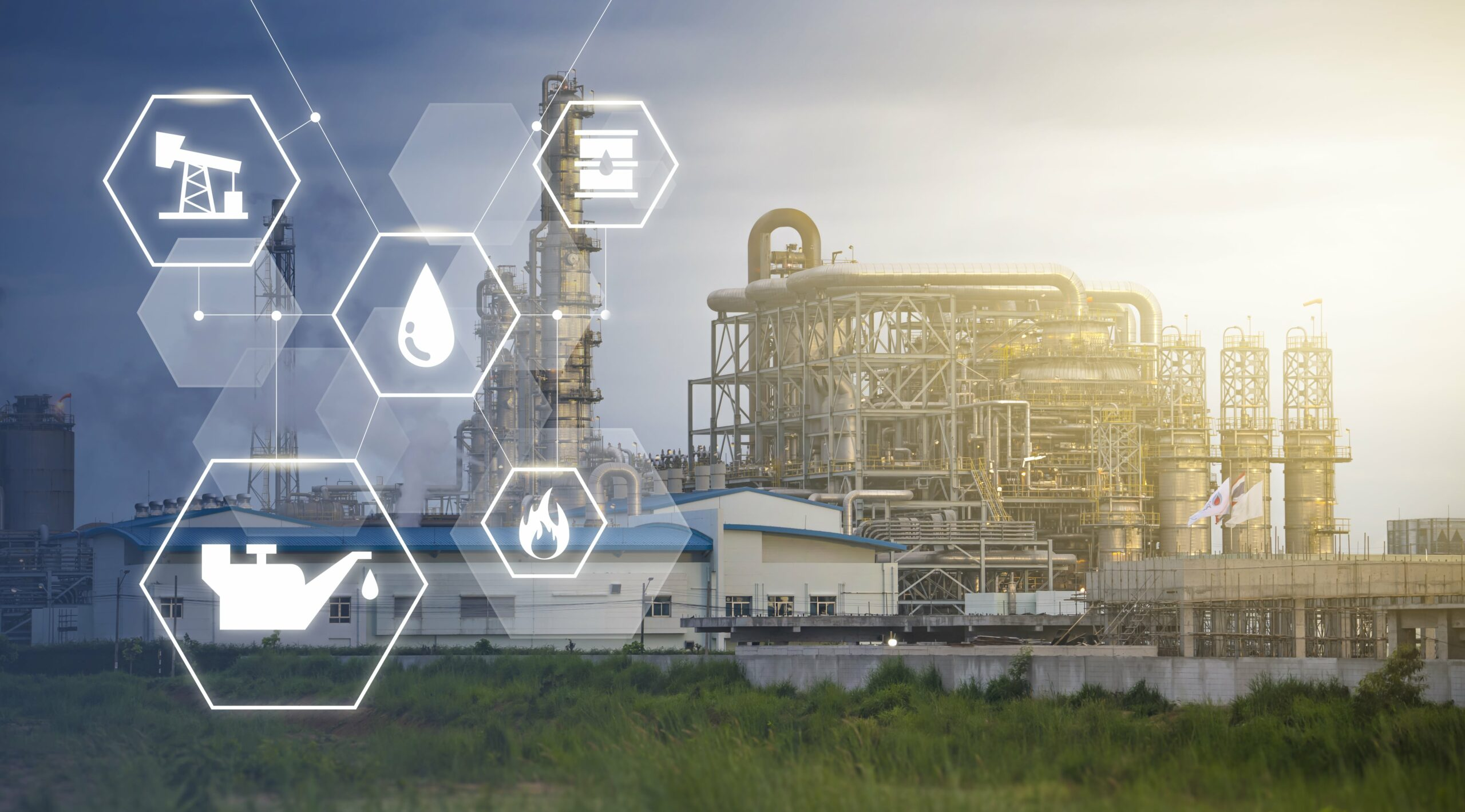 industrial oil refinery plantation engineering factory with smart technology industries lines icon, creating fuel and gas for energy sustainable economy and mechanical tech, supplying fuel resources