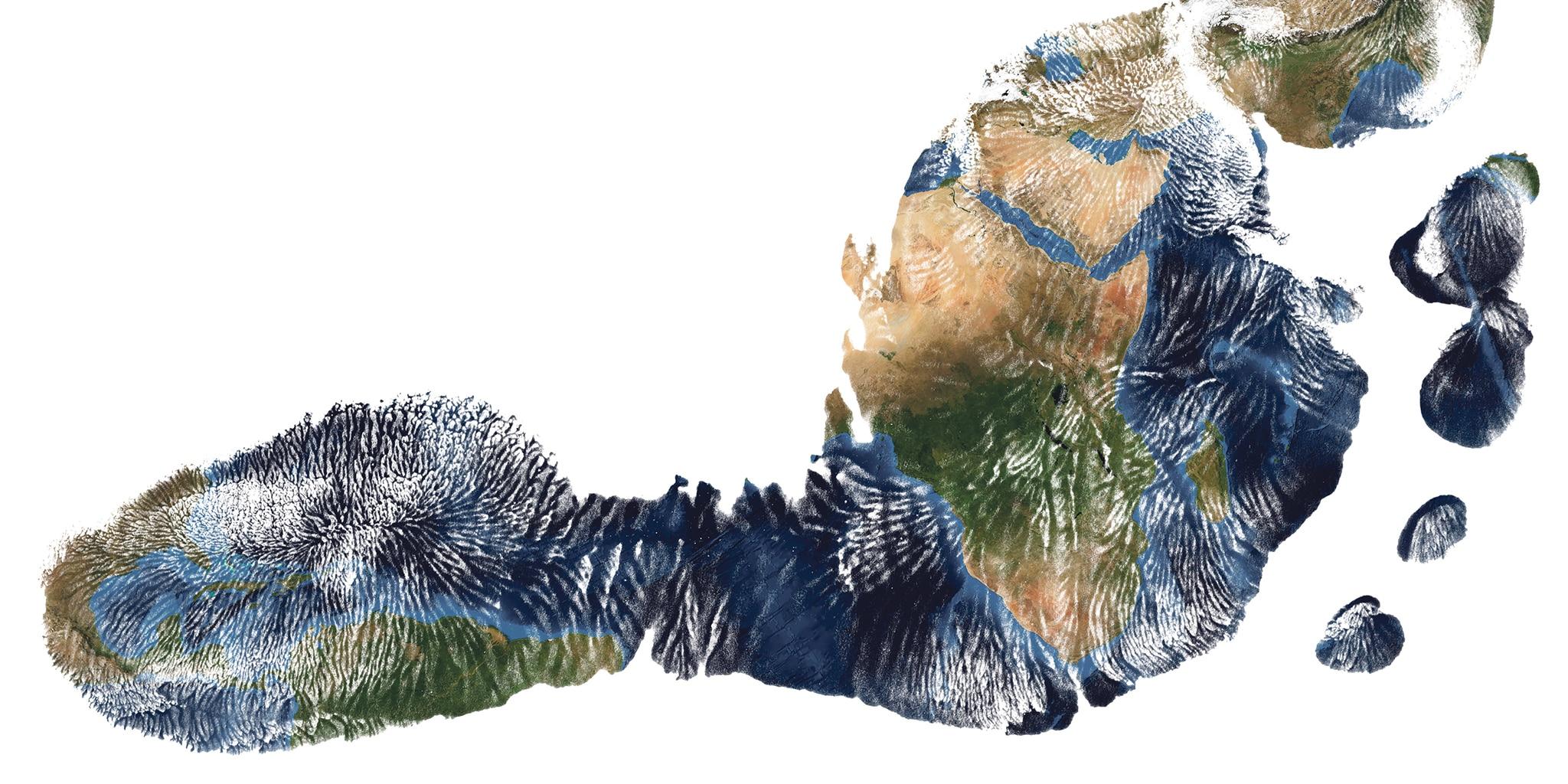 Voetafdruk met de aarde als print