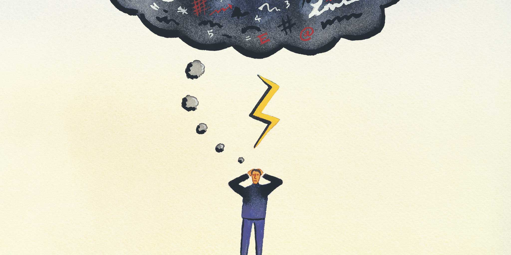 cartoon manneke met bliksem en een zwarte denkwolk