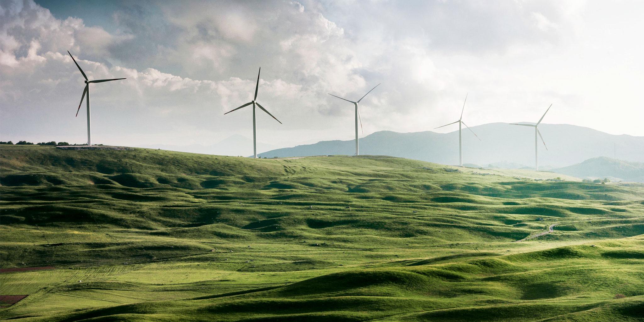 prairie avec moulins à vent