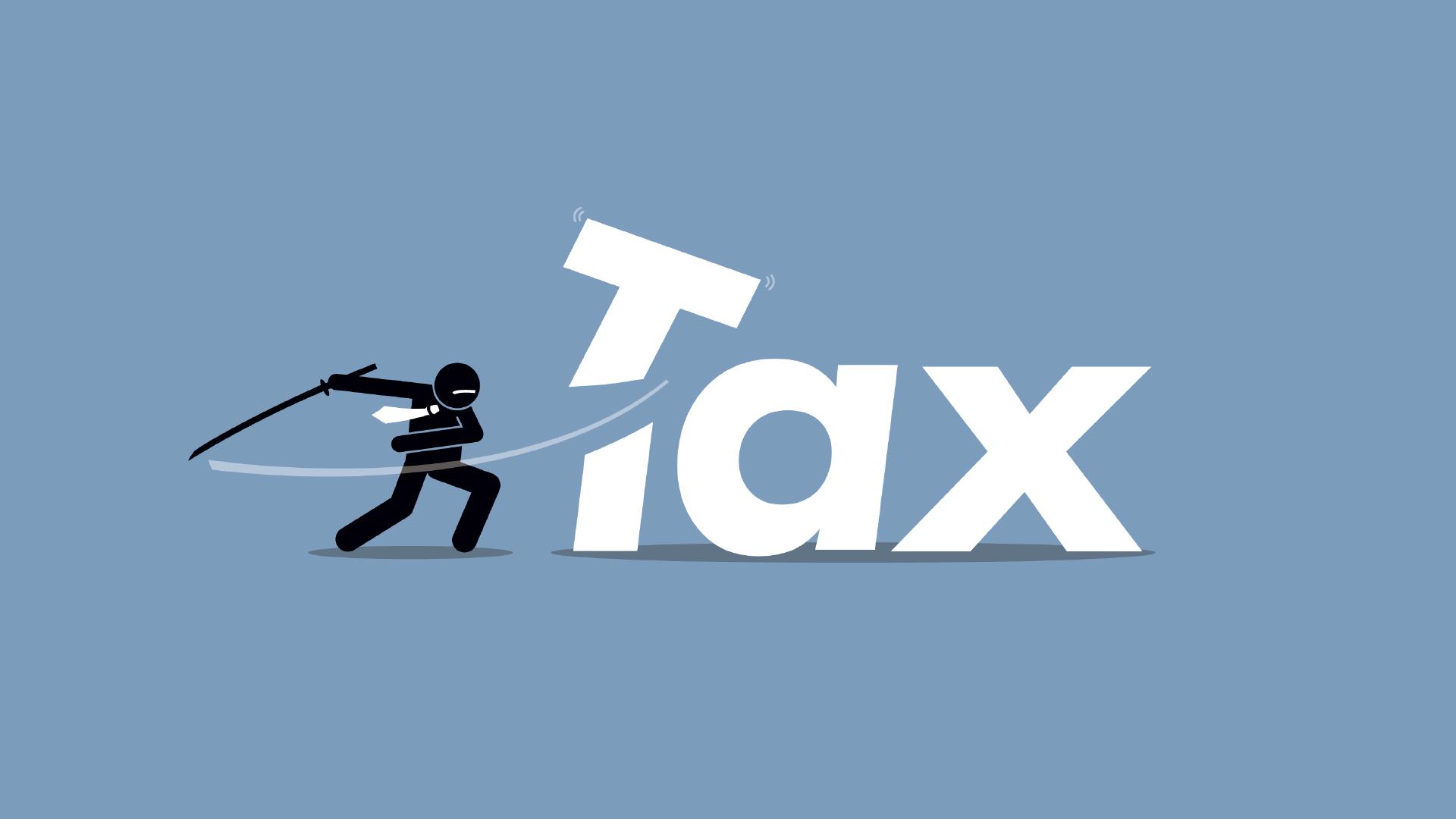 caricature d'un ninja coupant la lettre T du mot taxe