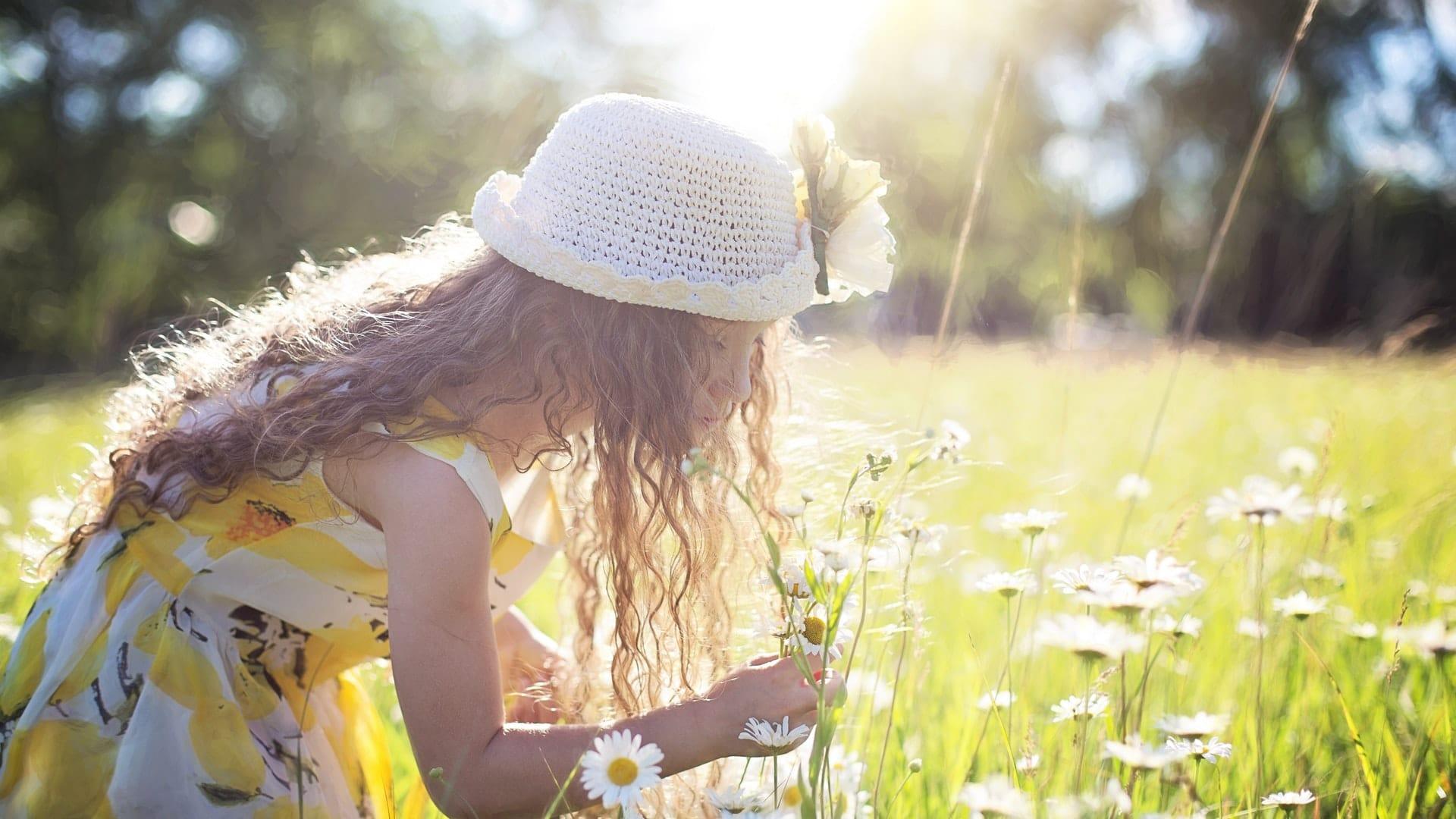 klein meisje raakt zonnebloem aan